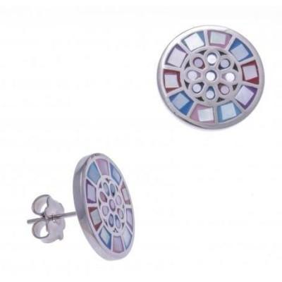 Boucles d'oreilles femme en acier, émail et nacre - Sygma - Lyn&Or Bijoux