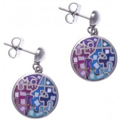 Boucles d'oreilles femme en acier, émail rose et bleu, nacre - Enigme