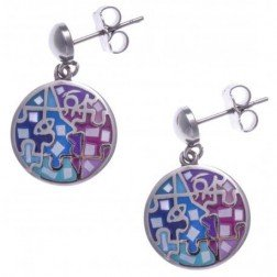 Boucles d'oreilles femme en acier, émail rose et bleu, nacre - Enigme - Lyn&Or Bijoux