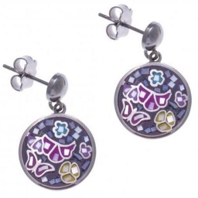 Boucles d'oreilles Odena en acier, émail et nacre - Papillon