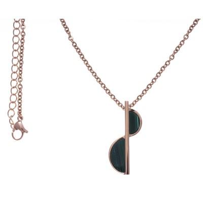 Collier en pierre naturelle pour femme: Acier rose & Malachite verte - Lyn&Or Bijoux