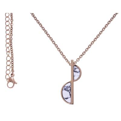 Collier en pierres naturelles pour femme: Acier rose & Howlite blanche - Lyn&Or Bijoux