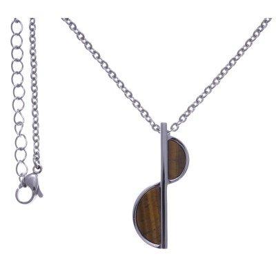 Collier pour femme en acier + pendentif oeil de tigre brun - Lyn&Or Bijoux