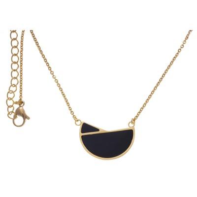 Collier femme, pendentif acier doré et Onyx noir