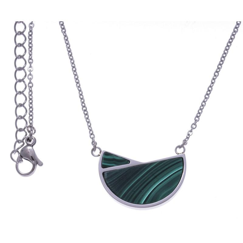 Collier femme, pendentif acier et Malachite verte