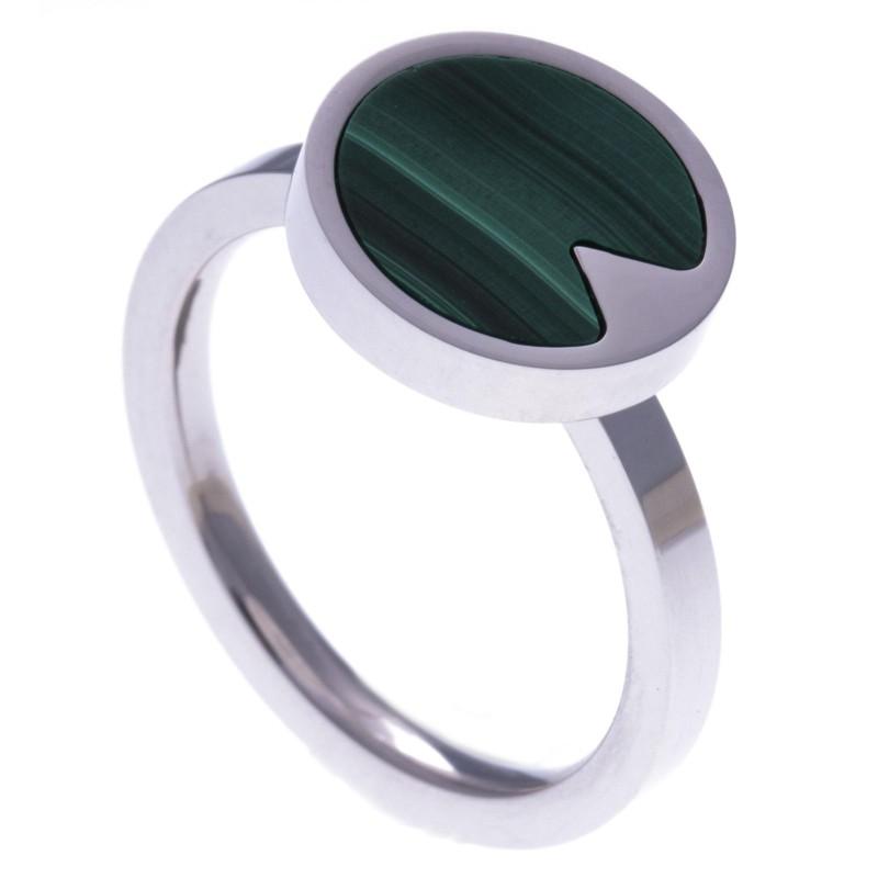Bague en acier femme, pierres naturelles, Malachite verte