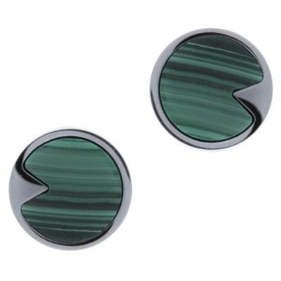 Boucles d'oreilles en pierre naturelle pour femme - Acier & Malachite verte - Lyn&Or Bijoux