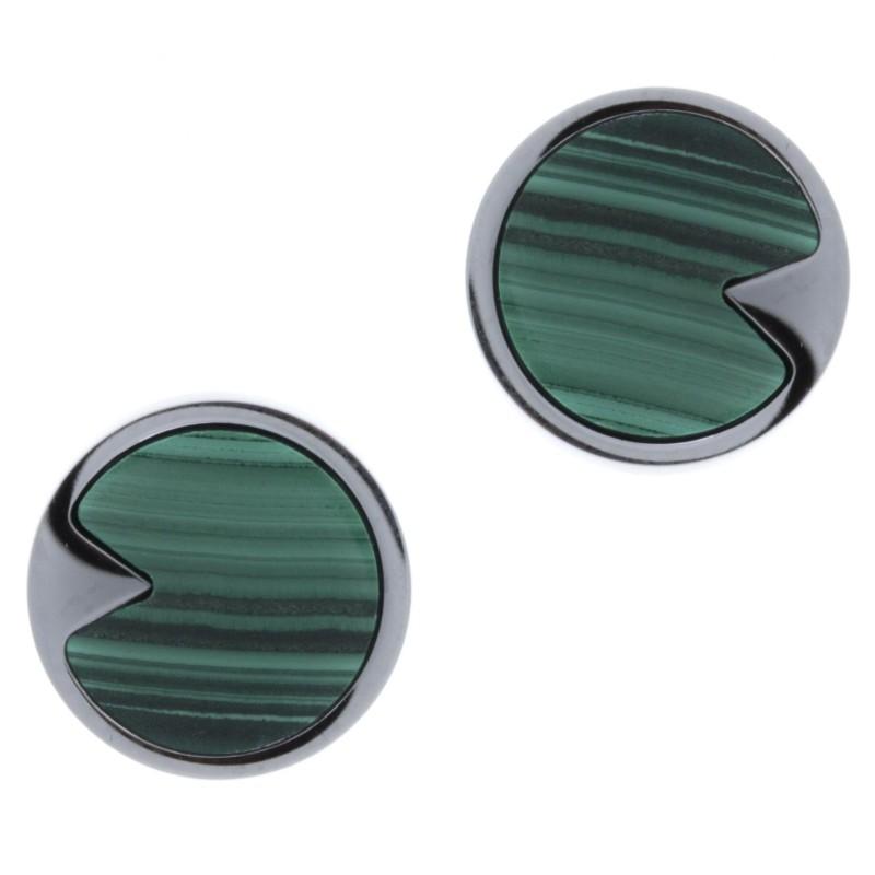 Boucles d'oreilles acier femme, Malachite verte