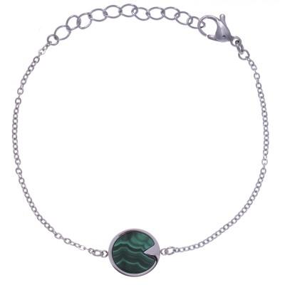 Bracelet en pierre naturelle pour femme - Acier & Malachite verte - Lyn&Or Bijoux
