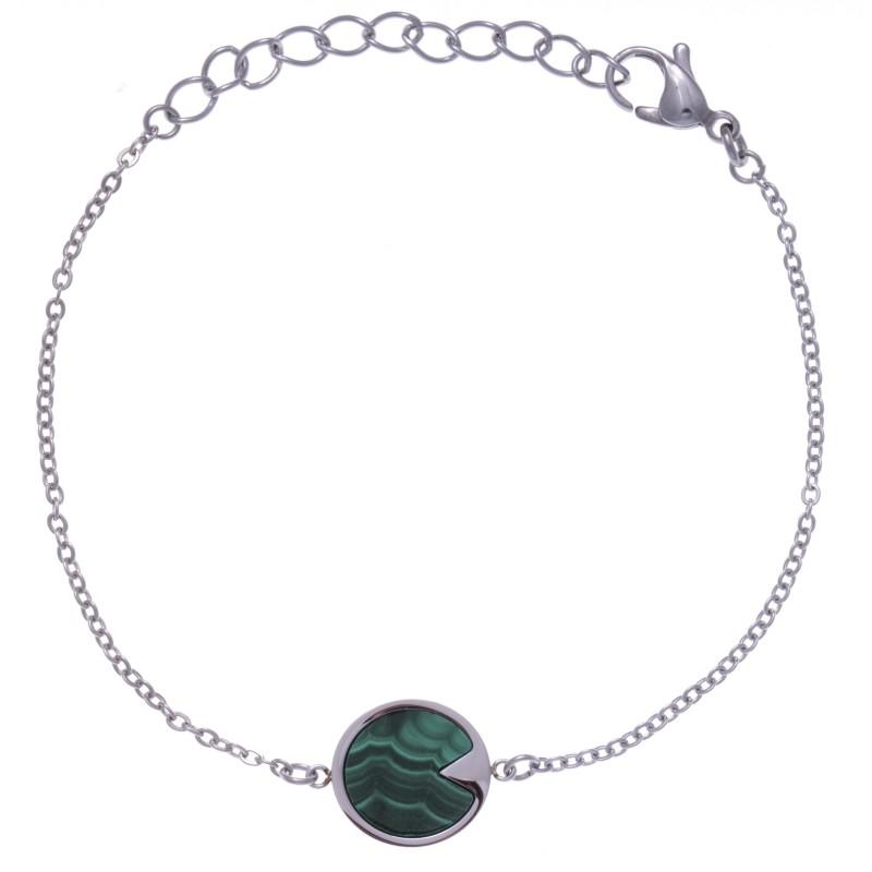 Bracelet acier femme, pierres fines, Malachite verte