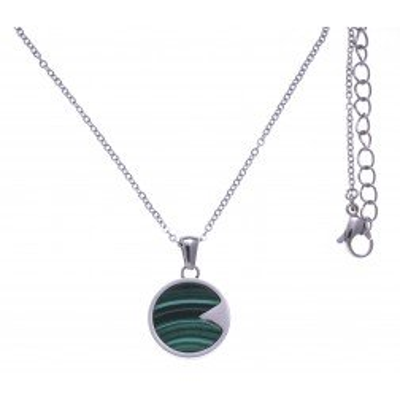 Collier femme en acier & pendentif en Malachite verte - Lyn&Or Bijoux