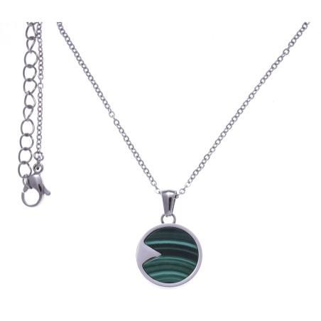 Collier acier femme, pierres fines, Malachite verte
