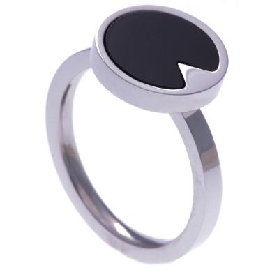 Bague acier pour femme, pierres naturelles, Onyx noir