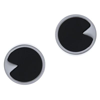 Boucles d'oreilles femme, puces en acier & Onyx noir - Lyn&Or Bijoux