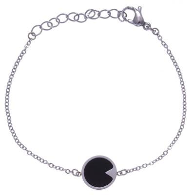 Bracelet acier femme, pierres naturelles, Onyx noir