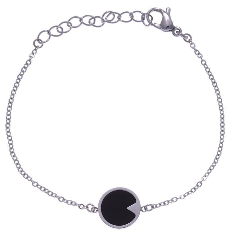 Bracelet pour femme en acier et pierre naturelle d'Onyx noire - Lyn&Or Bijoux
