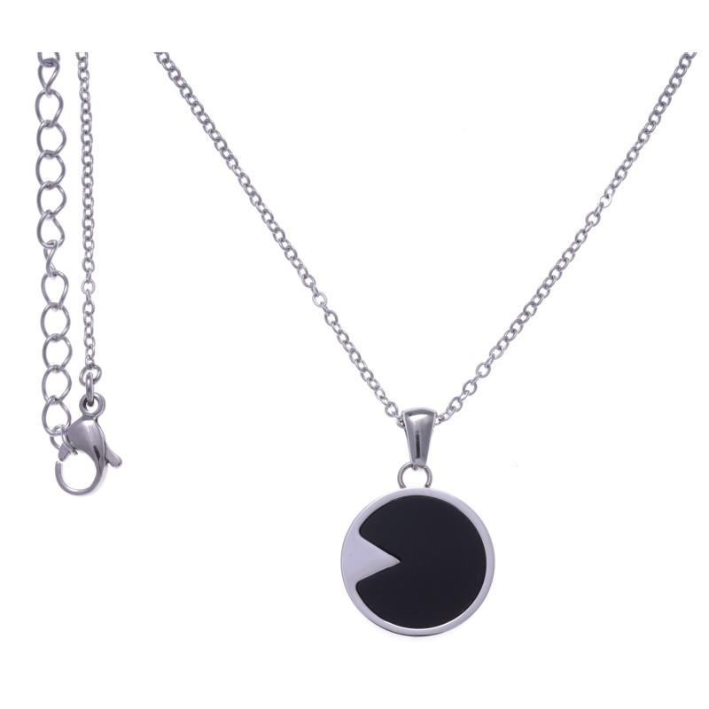 Collier en acier pour femme & pendentif d'Onyx noir - Lyn&Or Bijoux