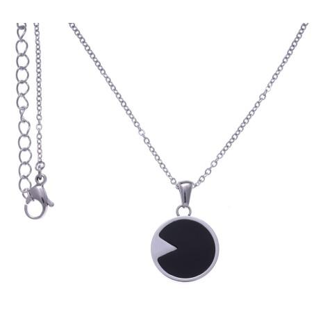 Collier acier femme, pierres naturelles, Onyx noir