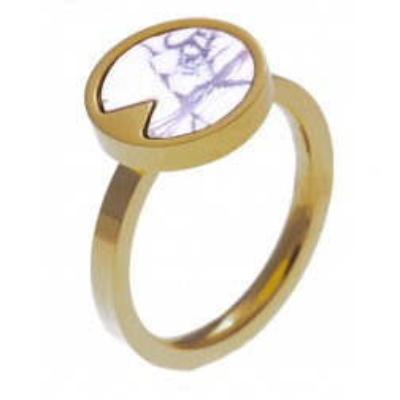 Bague en pierre naturelle, femme: Acier doré & Howlite blanche - Lyn&Or Bijoux