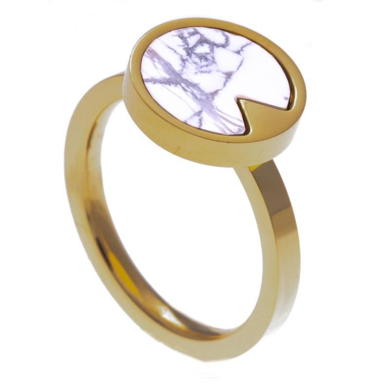 Bague acier doré pour femme avec pierres Howlite blanche
