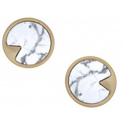 Boucles d'oreille femme, clous en acier doré & Howlite blanche - Lyn&Or Bijoux