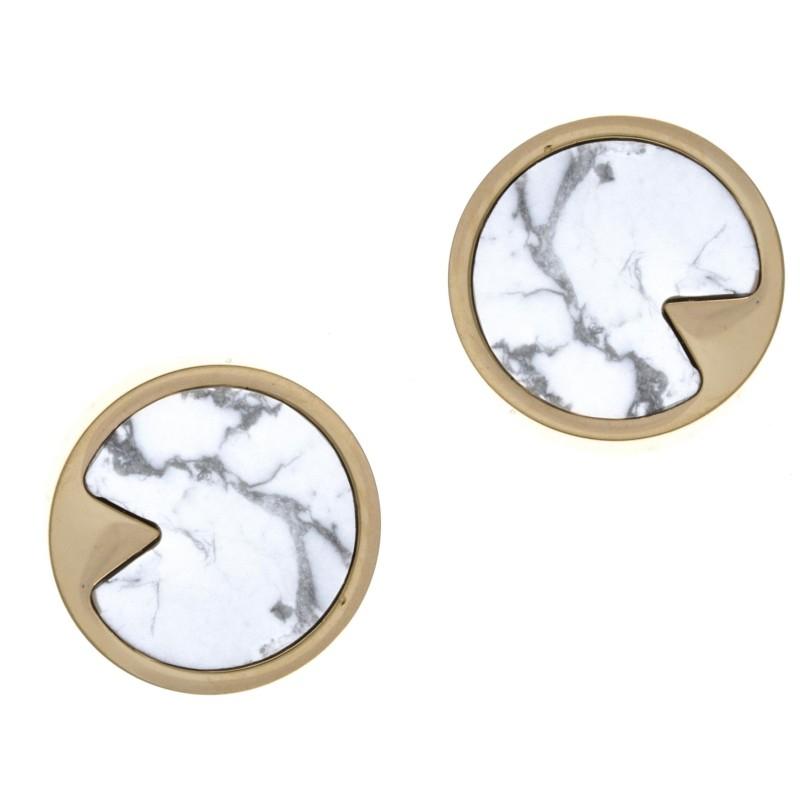 Boucles d'oreille acier doré & Howlite blanche, femme