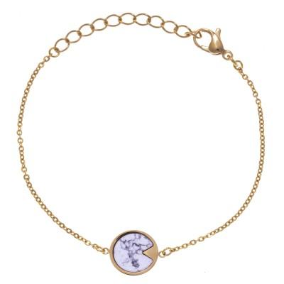 Bracelet acier doré femme, pierres Howlite blanche