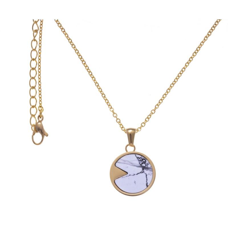 Collier acier doré pour femme, pierres Howlite blanche