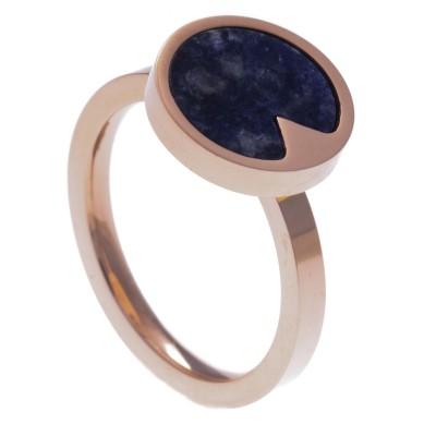 Bague en acier rose femme, pierres fines, Sodalite bleue