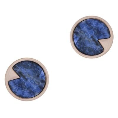 Boucles d'oreille acier rose femme, Sodalite bleue