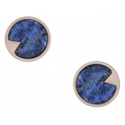 Boucles d'oreille créateur femme en acier rose & Sodalite bleue - Lyn&Or Bijoux