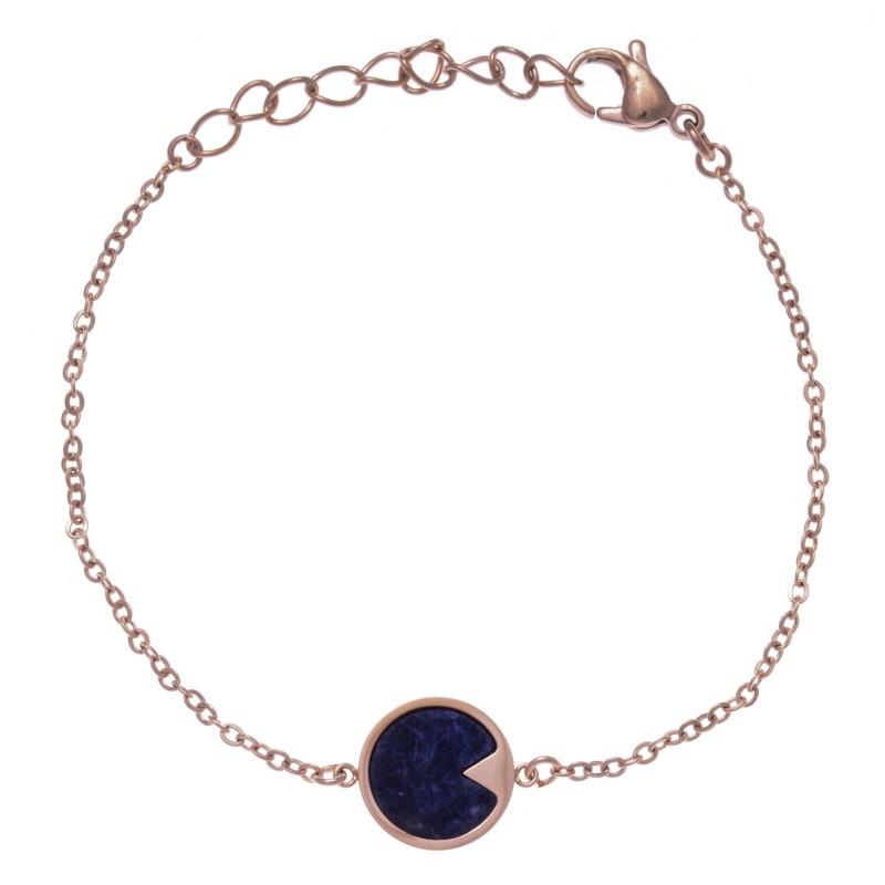 Bracelet acier rose femme, Sodalite bleue