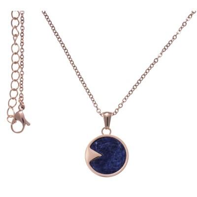 Collier femme en acier rose & pendentif en Sodalite bleue - Lyn&Or Bijoux