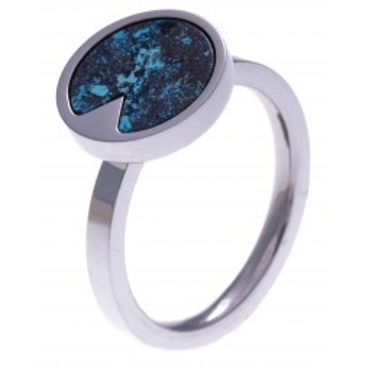 Bague acier femme, pierres fines, Chrysocolle bleue