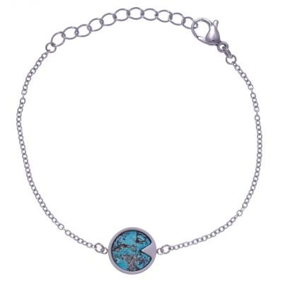 Bracelet acier femme, pierres fines, Chrysocolle bleue