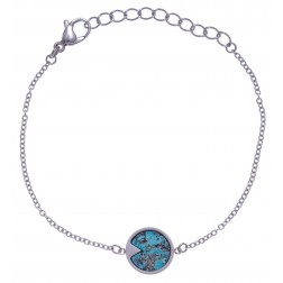 Bracelet pour femme en acier gris et Chrysocolle bleue - Lyn&Or Bijoux