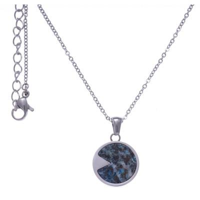 Collier acier femme, pierres fines, Chrysocolle bleue