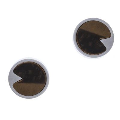 Boucles d'oreille femme en pierre naturelle: Acier & Oeil de tigre - Lyn&Or Bijoux