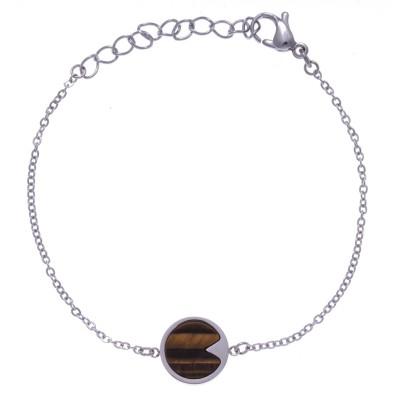 Bracelet acier femme, Oeil de tigre brun