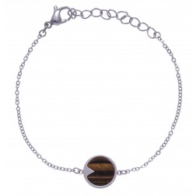 Bracelet en pierre naturelle pour femme : Acier & Oeil de tigre brun - Lyn&Or Bijoux