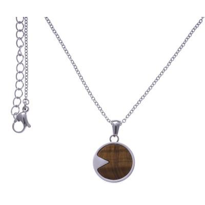 Collier acier femme, pierres fines, Oeil de tigre brun