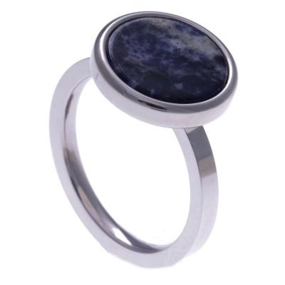 Bague acier femme, pierres fines, Sodalite bleue ronde