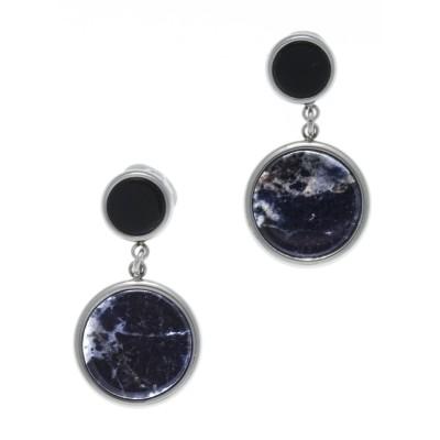 Boucles d'oreilles femme: Acier, Onyx & Sodalite bleue - Lyn&Or Bijoux