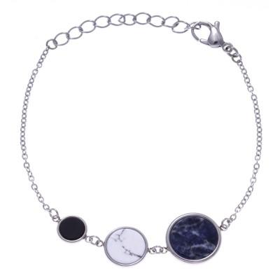 Bracelet femme en acier - Sodalite bleue, Howlite blanche & Onyx - Lyn&Or Bijoux