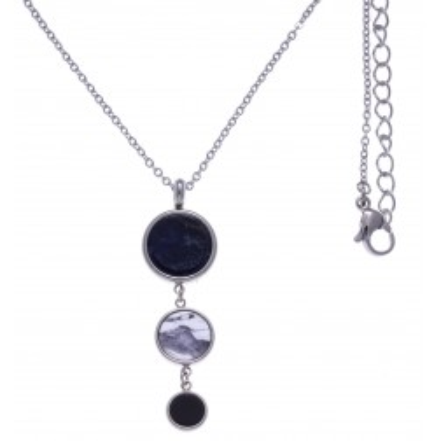 Collier en pierres naturelles pour femme: Acier, Sodalite, Howlite & Onyx - Lyn&Or Bijoux