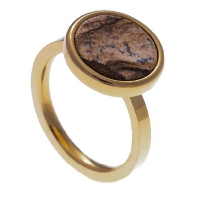 Bague acier doré pour femme, pierres Jaspe paysage