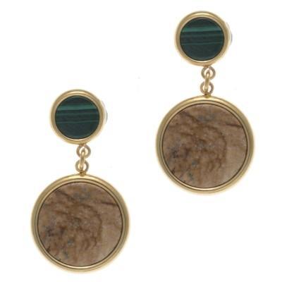 Boucles d'oreille femme: Acier doré, Malachite & Jaspe paysage - Lyn&Or Bijoux