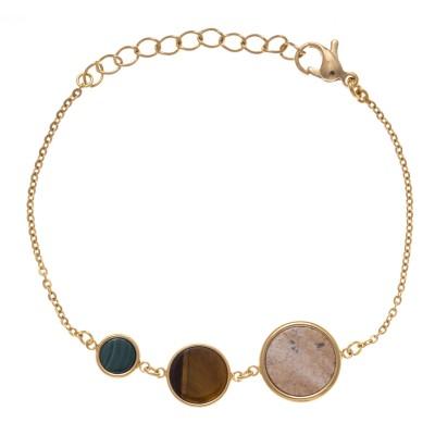 Bracelet créateur femme en acier doré et pierres naturelles - Lyn&Or Bijoux