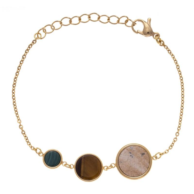 Bracelet pour femme en acier et 3 pierres naturelles
