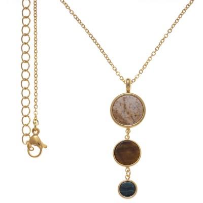 Collier pour femme en acier et 3 pierres naturelles